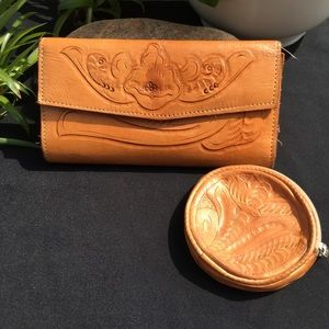 Handbags - Stamped leather wallet and coin purse.